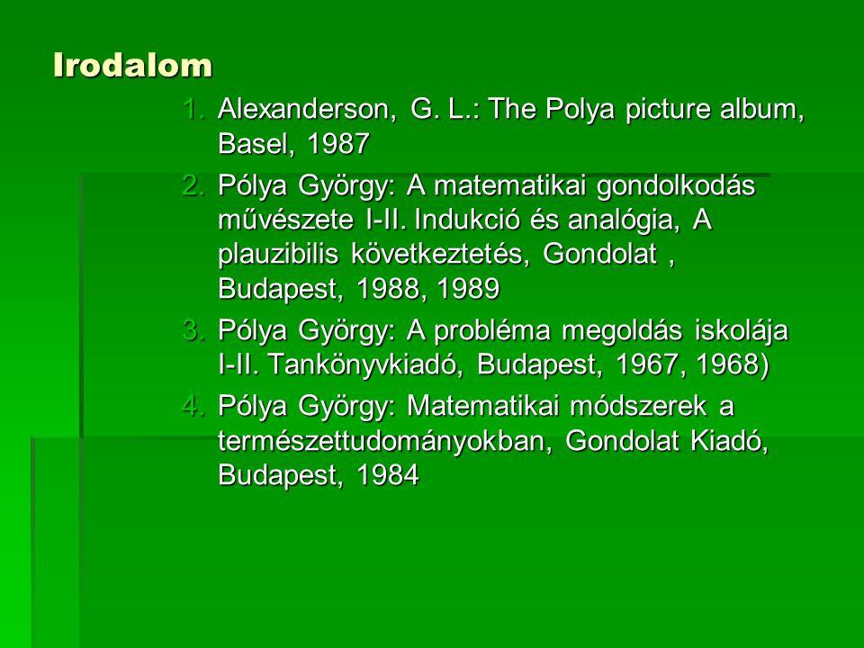 Irodalom 1.Alexanderson, G. L.: The Polya picture album, Basel, 1987 2.Pólya György: A matematikai gondolkodás művészete I-II. Indukció és analógia, A