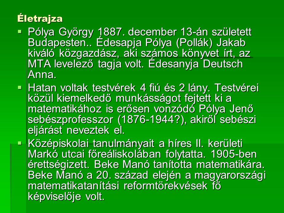 Életrajza  Pólya György 1887. december 13-án született Budapesten.. Édesapja Pólya (Pollák) Jakab kiváló közgazdász, aki számos könyvet írt, az MTA l