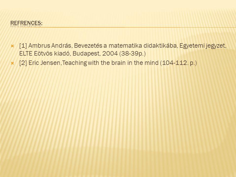  [1] Ambrus András, Bevezetés a matematika didaktikába, Egyetemi jegyzet, ELTE Eötvös kiadó, Budapest, 2004 (38-39p.)  [2] Eric Jensen,Teaching with the brain in the mind (104-112.