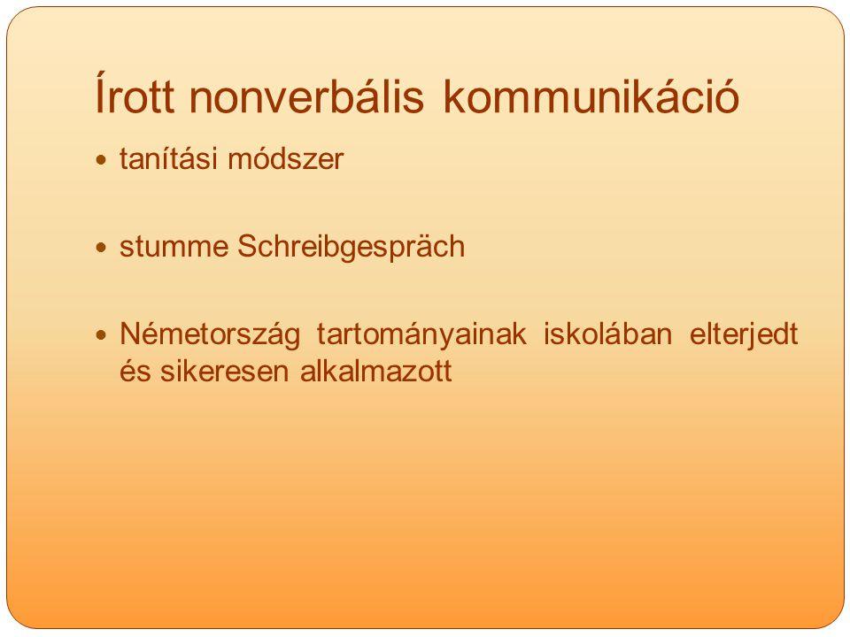 Írott nonverbális kommunikáció tanítási módszer stumme Schreibgespräch Németország tartományainak iskolában elterjedt és sikeresen alkalmazott