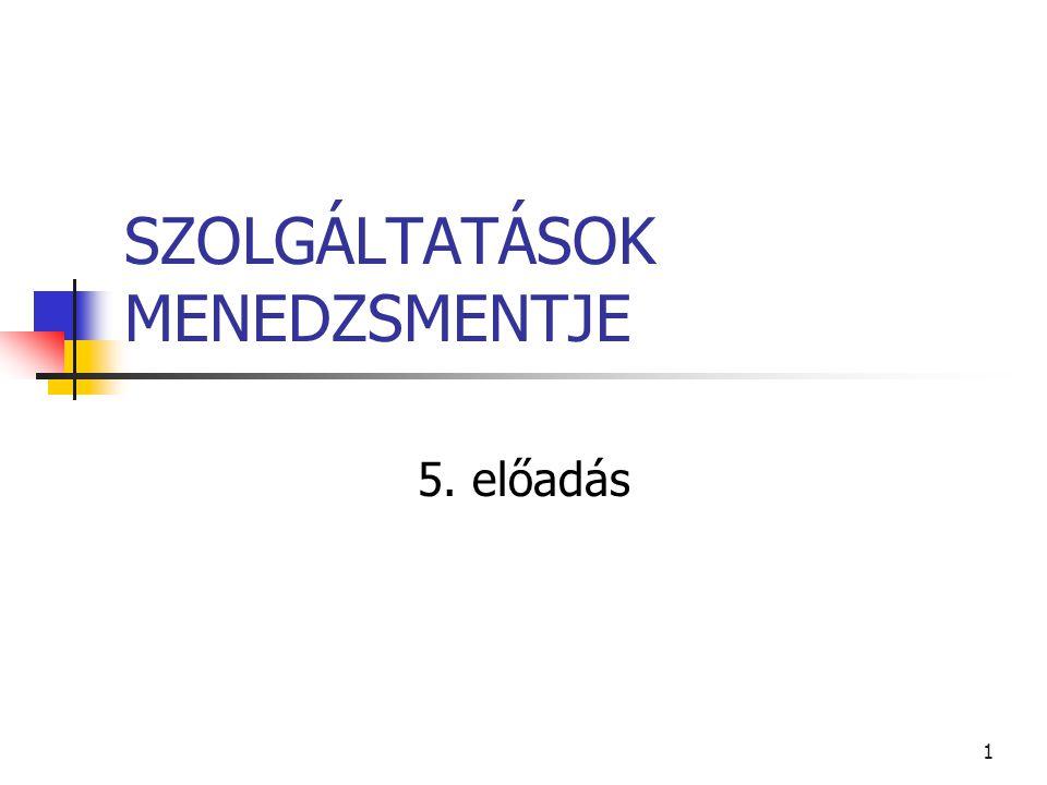 1 SZOLGÁLTATÁSOK MENEDZSMENTJE 5. előadás