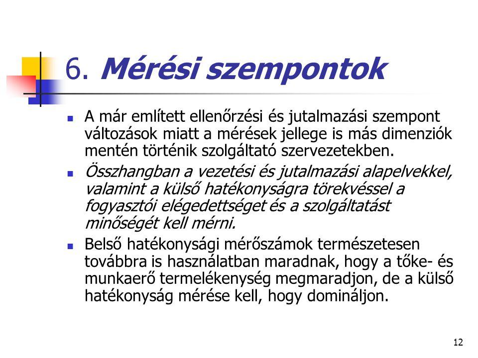 12 6. Mérési szempontok A már említett ellenőrzési és jutalmazási szempont változások miatt a mérések jellege is más dimenziók mentén történik szolgál