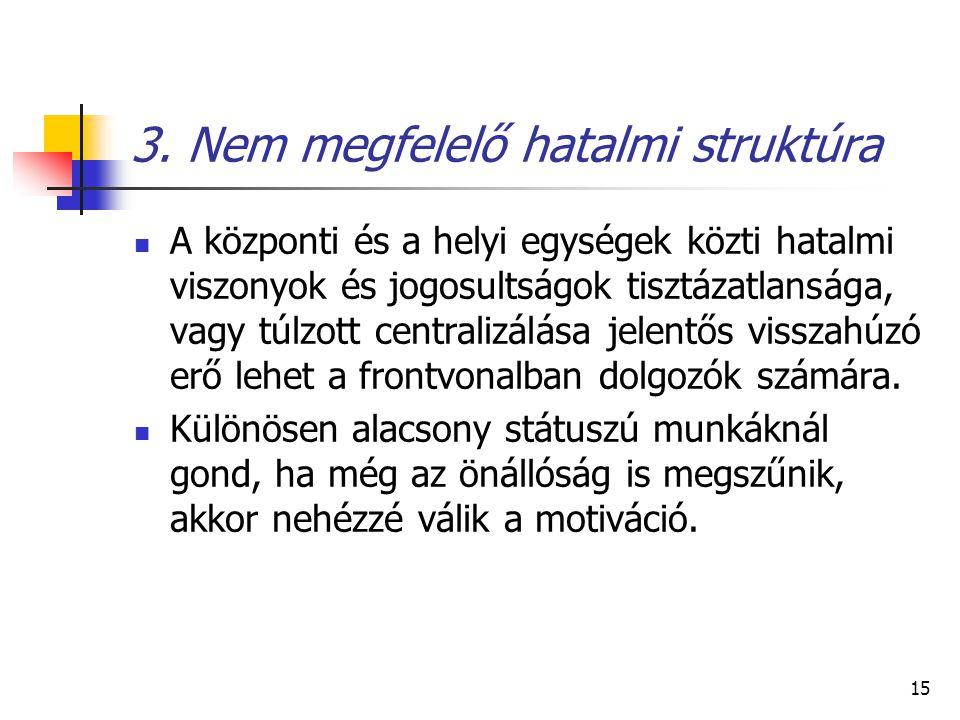 15 3. Nem megfelelő hatalmi struktúra A központi és a helyi egységek közti hatalmi viszonyok és jogosultságok tisztázatlansága, vagy túlzott centraliz