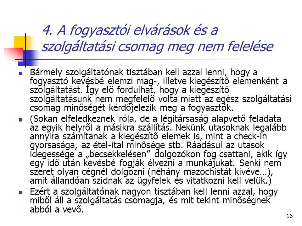 16 4. A fogyasztói elvárások és a szolgáltatási csomag meg nem felelése Bármely szolgáltatónak tisztában kell azzal lenni, hogy a fogyasztó kevésbé el