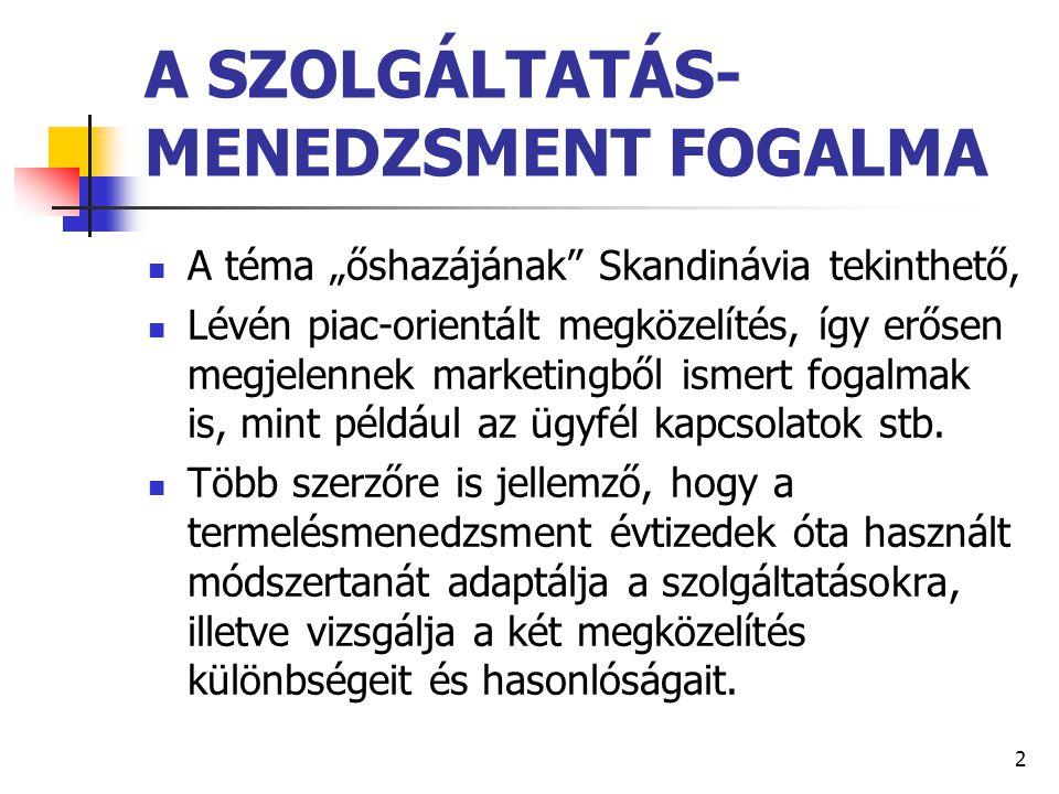 """2 A SZOLGÁLTATÁS- MENEDZSMENT FOGALMA A téma """"őshazájának"""" Skandinávia tekinthető, Lévén piac-orientált megközelítés, így erősen megjelennek marketing"""