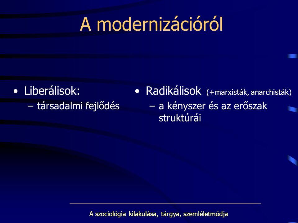 A szociológia kilakulása, tárgya, szemléletmódja A modernizációról Liberálisok: –társadalmi fejlődés Radikálisok (+marxisták, anarchisták) –a kényszer