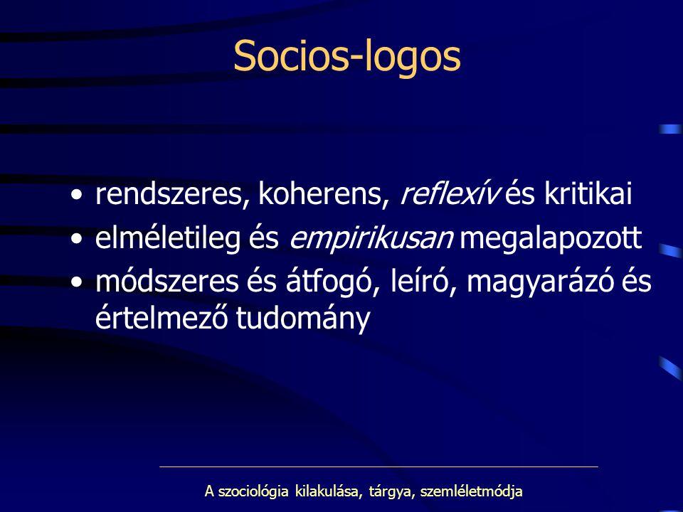 A szociológia kilakulása, tárgya, szemléletmódja Socios-logos rendszeres, koherens, reflexív és kritikai elméletileg és empirikusan megalapozott módsz