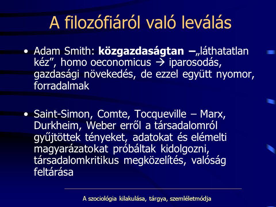 """A szociológia kilakulása, tárgya, szemléletmódja A filozófiáról való leválás Adam Smith: közgazdaságtan –""""láthatatlan kéz"""", homo oeconomicus  iparoso"""