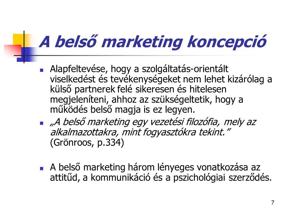 7 A belső marketing koncepció Alapfeltevése, hogy a szolgáltatás-orientált viselkedést és tevékenységeket nem lehet kizárólag a külső partnerek felé sikeresen és hitelesen megjeleníteni, ahhoz az szükségeltetik, hogy a működés belső magja is ez legyen.