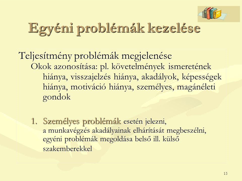 15 Egyéni problémák kezelése Teljesítmény problémák megjelenése Okok azonosítása: pl. követelmények ismeretének hiánya, visszajelzés hiánya, akadályok