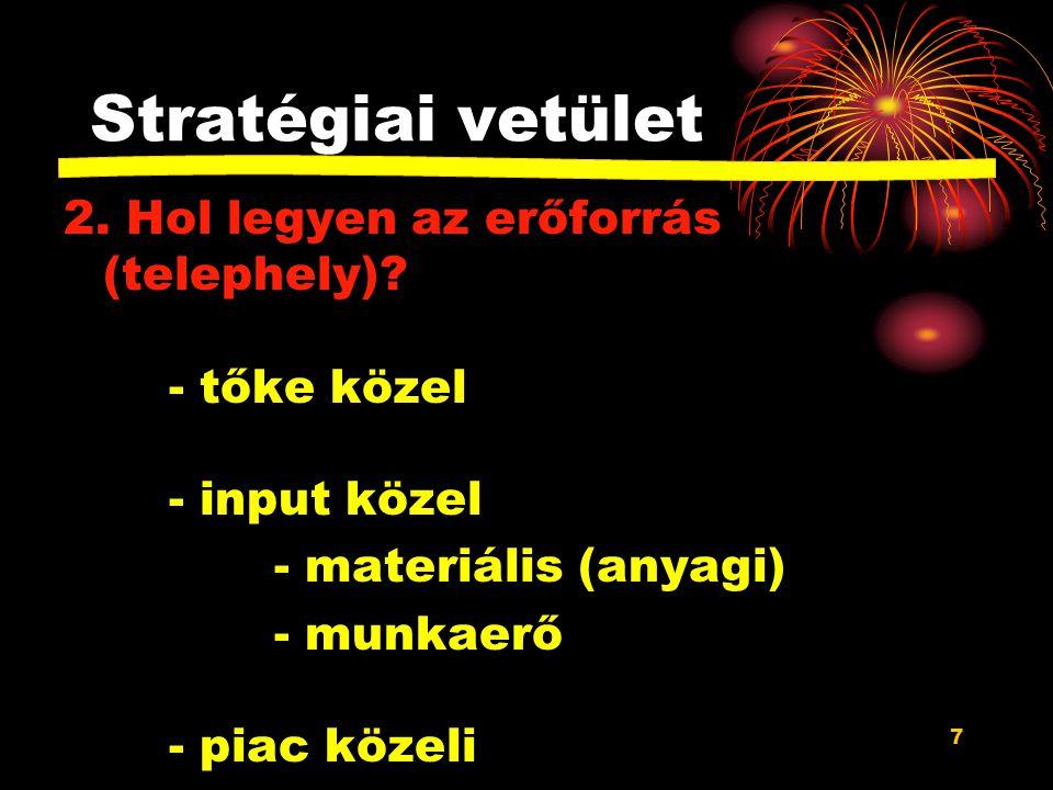 7 Stratégiai vetület 2.Hol legyen az erőforrás (telephely).