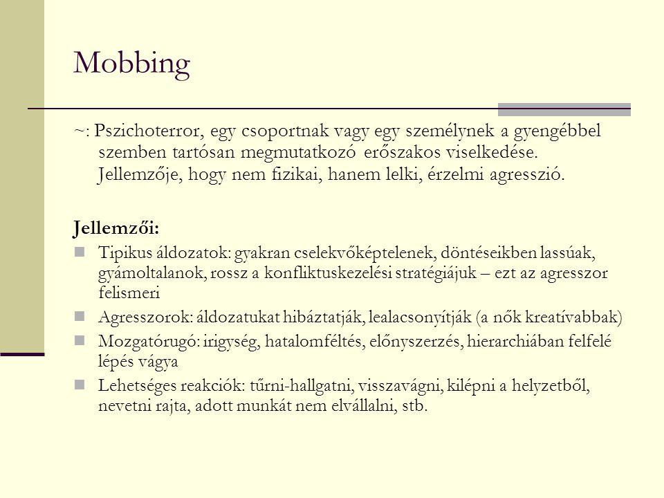 Mobbing ~: Pszichoterror, egy csoportnak vagy egy személynek a gyengébbel szemben tartósan megmutatkozó erőszakos viselkedése. Jellemzője, hogy nem fi