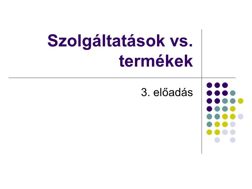 Szolgáltatások vs. termékek 3. előadás