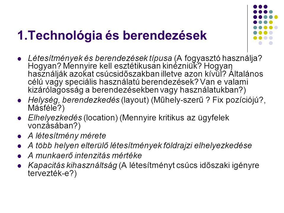 1.Technológia és berendezések Létesítmények és berendezések típusa (A fogyasztó használja? Hogyan? Mennyire kell esztétikusan kinézniük? Hogyan haszná