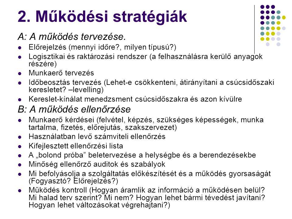 2. Működési stratégiák A: A működés tervezése. Előrejelzés (mennyi időre?, milyen típusú?) Logisztikai és raktározási rendszer (a felhasználásra kerül