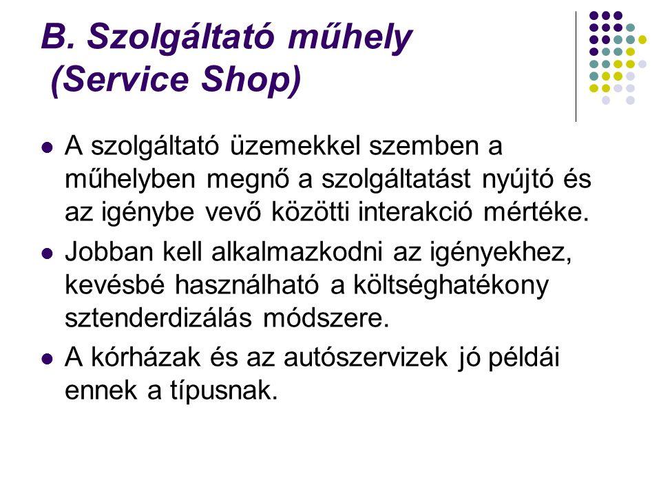 B. Szolgáltató műhely (Service Shop) A szolgáltató üzemekkel szemben a műhelyben megnő a szolgáltatást nyújtó és az igénybe vevő közötti interakció mé