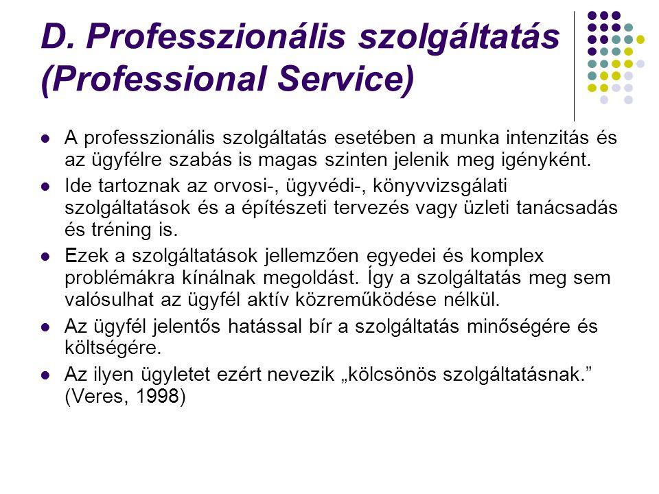 D. Professzionális szolgáltatás (Professional Service) A professzionális szolgáltatás esetében a munka intenzitás és az ügyfélre szabás is magas szint