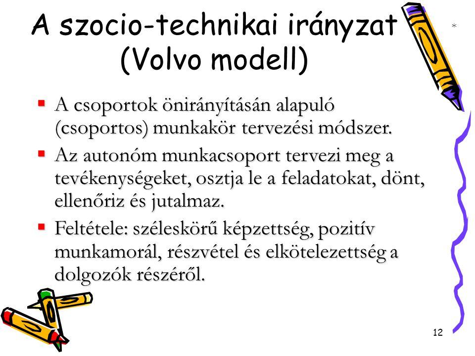12 A szocio-technikai irányzat (Volvo modell)  A csoportok önirányításán alapuló (csoportos) munkakör tervezési módszer.