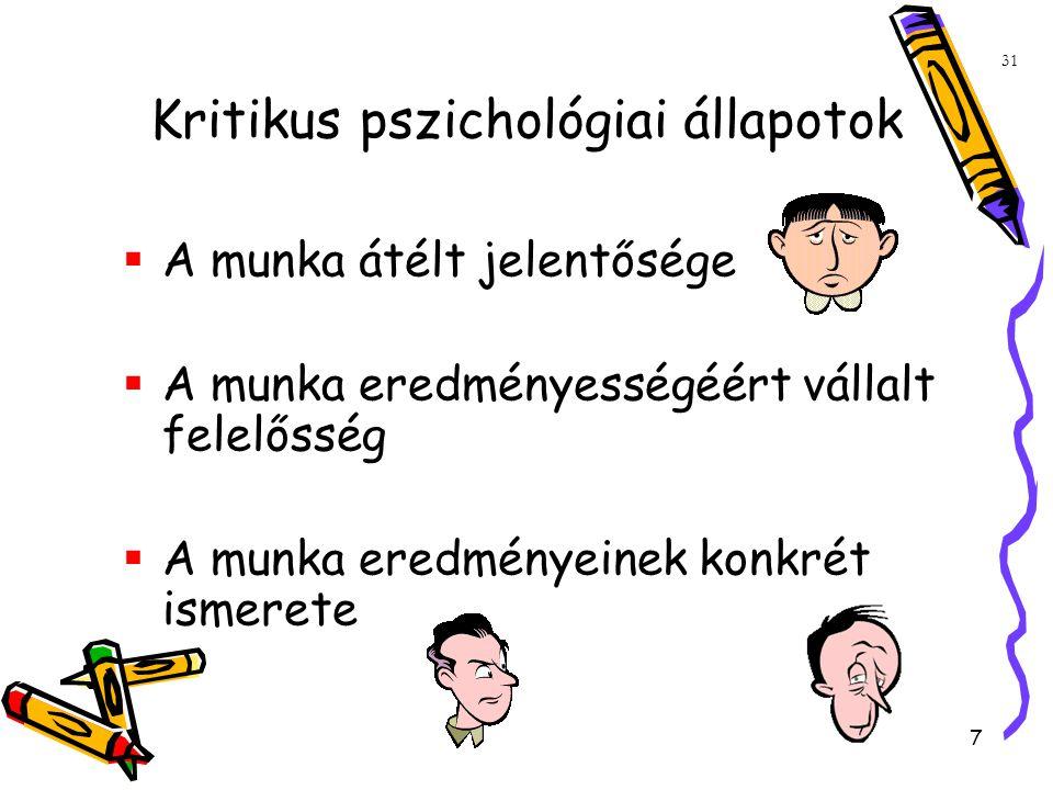 7 31 Kritikus pszichológiai állapotok  A munka átélt jelentősége  A munka eredményességéért vállalt felelősség  A munka eredményeinek konkrét ismerete