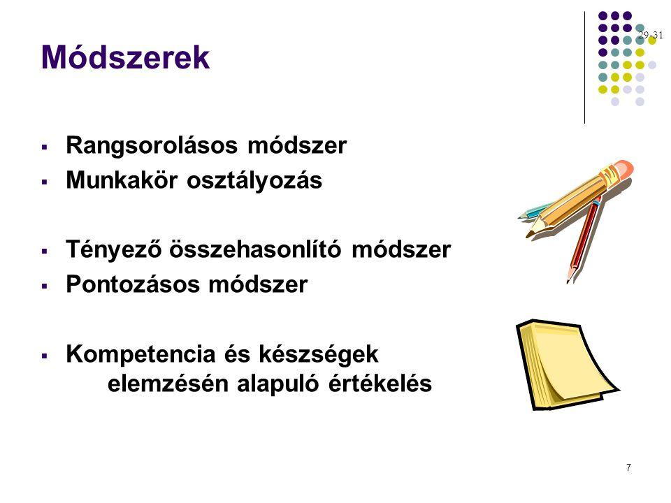 7 Módszerek  Rangsorolásos módszer  Munkakör osztályozás  Tényező összehasonlító módszer  Pontozásos módszer  Kompetencia és készségek elemzésén alapuló értékelés 29-31