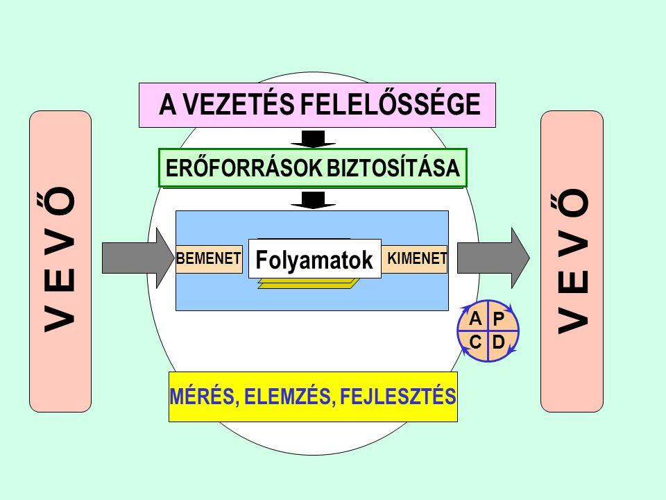 V E V Ő MÉRÉS, ELEMZÉS, FEJLESZTÉS BEMENETKIMENET Folyamatok A VEZETÉS FELELŐSSÉGE ERŐFORRÁSOK BIZTOSÍTÁSA P DC A