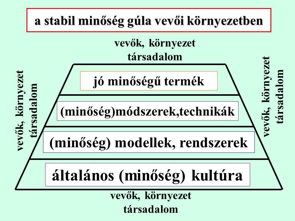 a stabil minőség gúla vevői környezetben jó minőségű termék (minőség)módszerek,technikák (minőség) modellek, rendszerek általános (minőség) kultúra vevők, környezet társadalom vevők, környezet társadalom vevők, környezet társadalom vevők, környezet társadalom