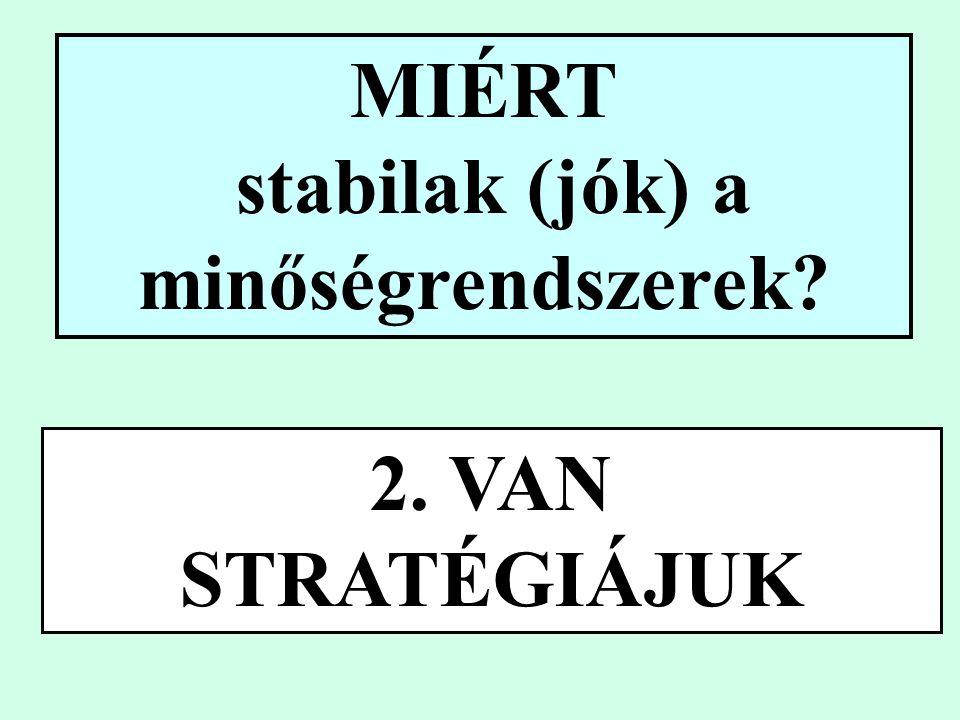 MIÉRT stabilak (jók) a minőségrendszerek 2. VAN STRATÉGIÁJUK