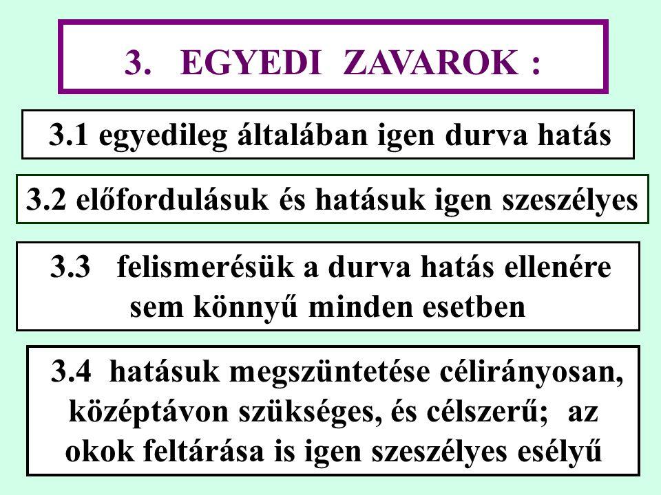 3. EGYEDI ZAVAROK : 3.1 egyedileg általában igen durva hatás 3.2 előfordulásuk és hatásuk igen szeszélyes 3.4 hatásuk megszüntetése célirányosan, közé