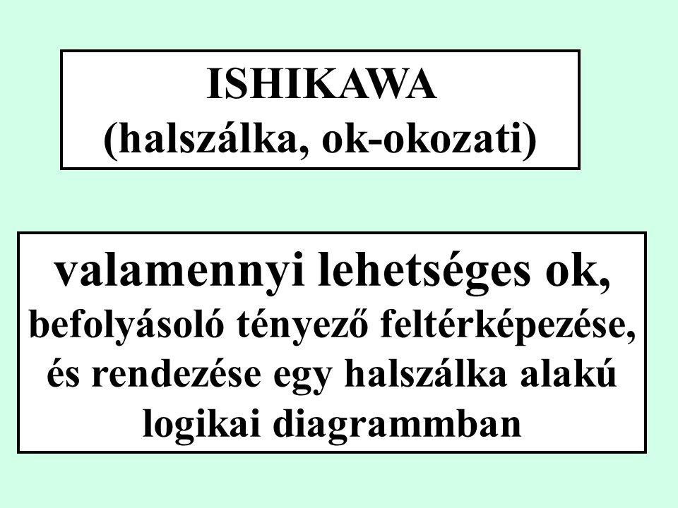 ISHIKAWA (halszálka, ok-okozati) valamennyi lehetséges ok, befolyásoló tényező feltérképezése, és rendezése egy halszálka alakú logikai diagrammban