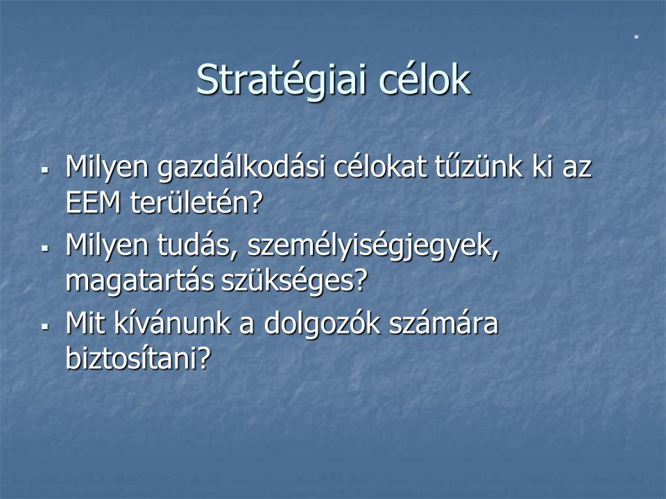 Stratégiai célok  Milyen gazdálkodási célokat tűzünk ki az EEM területén.