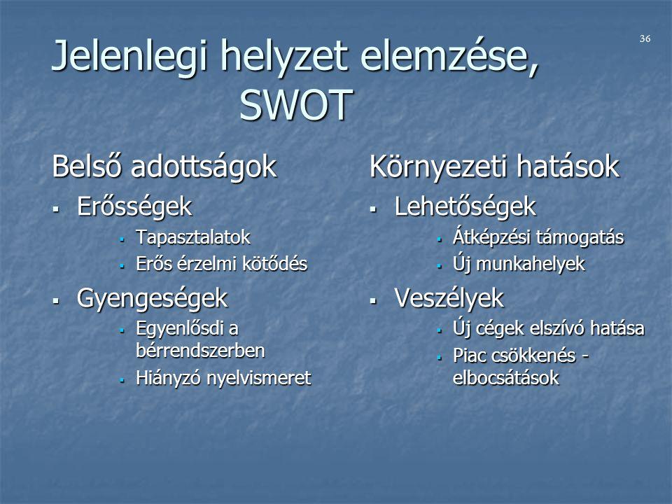 Jelenlegi helyzet elemzése, SWOT Belső adottságok  Erősségek  Tapasztalatok  Erős érzelmi kötődés  Gyengeségek  Egyenlősdi a bérrendszerben  Hiányzó nyelvismeret Környezeti hatások  Lehetőségek  Átképzési támogatás  Új munkahelyek  Veszélyek  Új cégek elszívó hatása  Piac csökkenés - elbocsátások 36