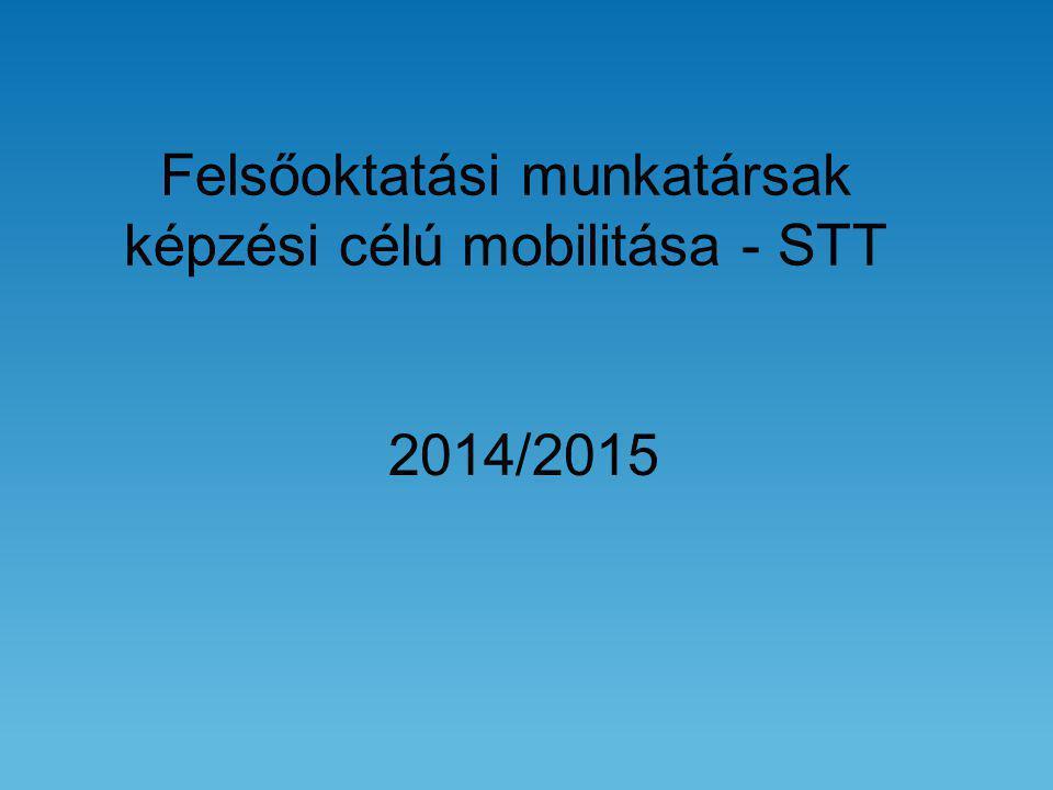 Felsőoktatási munkatársak képzési célú mobilitása - STT 2014/2015
