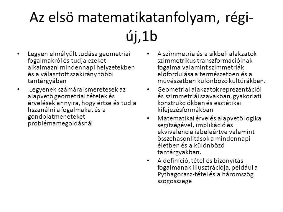 Az elsö matematikatanfolyam, régi- új,1b Legyen elmélyült tudása geometriai fogalmakról és tudja ezeket alkalmazni mindennapi helyzetekben és a választott szakirány többi tantárgyában Legyenek számára ismeretesek az alapvetö geometriai tételek és érvelések annyira, hogy értse és tudja hszanálni a fogalmakat és a gondolatmeneteket problémamegoldásnál A szimmetria és a síkbeli alakzatok szimmetrikus transzformációinak fogalma valamint szimmetriák elöfordulása a természetben és a müvészetben különbözö kultúrákban.