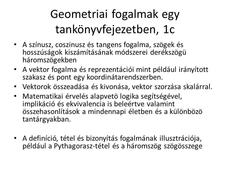 Geometriai fogalmak egy tankönyvfejezetben, 1c A színusz, coszinusz és tangens fogalma, szögek és hosszúságok kiszámításának módszerei derékszögü háromszögekben A vektor fogalma és reprezentációi mint például irányított szakasz és pont egy koordinátarendszerben.