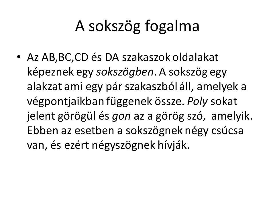 Az AB,BC,CD és DA szakaszok oldalakat képeznek egy sokszögben. A sokszög egy alakzat ami egy pár szakaszból áll, amelyek a végpontjaikban függenek öss