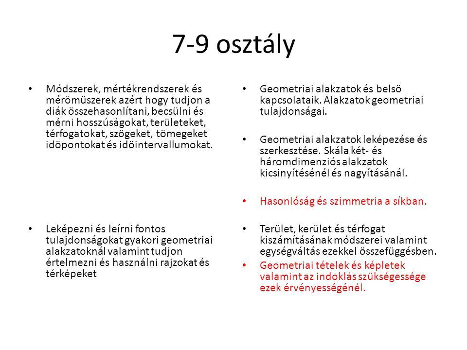 7-9 osztály Módszerek, mértékrendszerek és mérömüszerek azért hogy tudjon a diák összehasonlítani, becsülni és mérni hosszúságokat, területeket, térfo