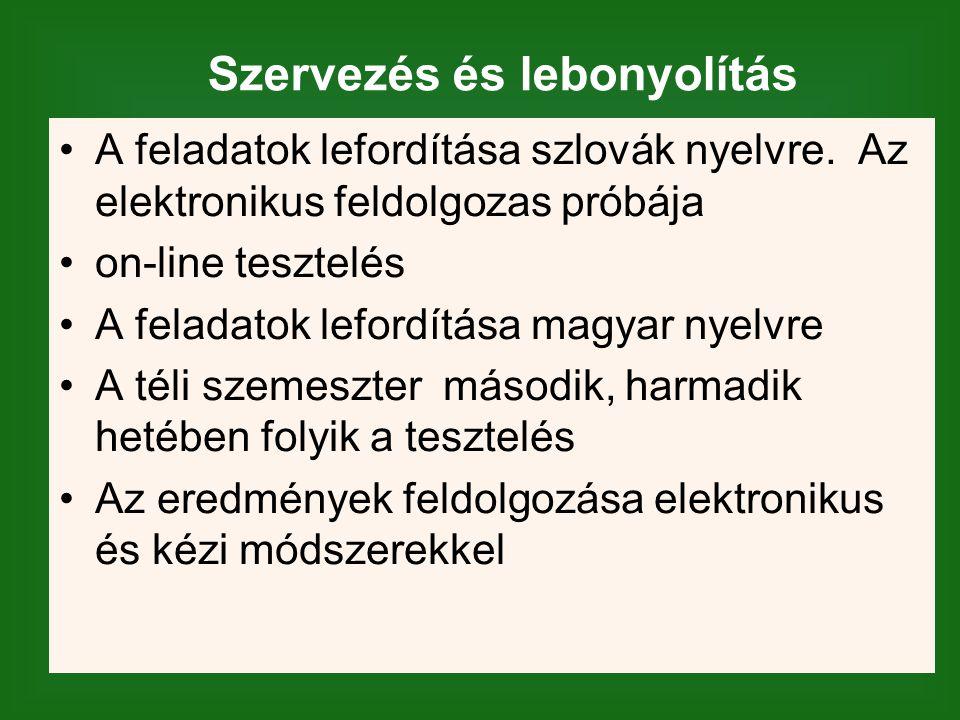 Szervezés és lebonyolítás A feladatok lefordítása szlovák nyelvre.