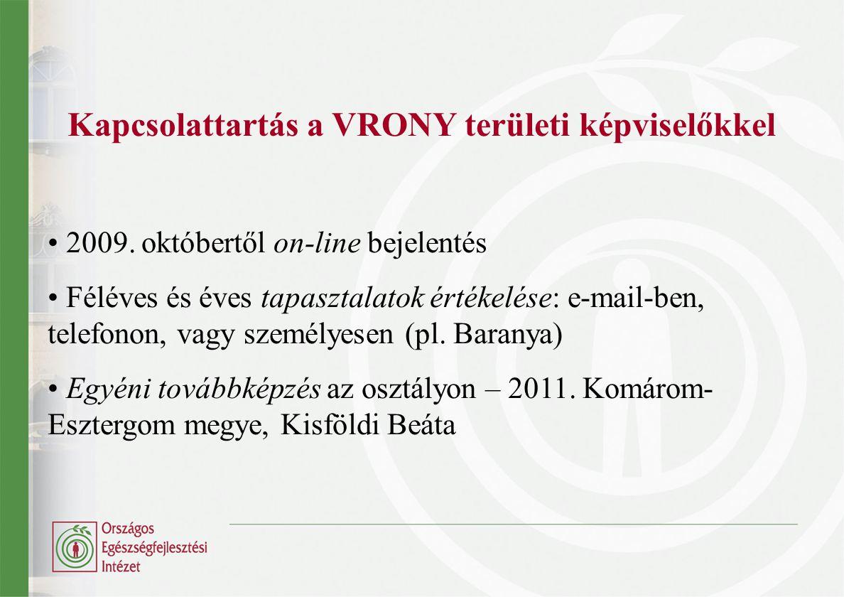 Kapcsolattartás a VRONY területi képviselőkkel 2009. októbertől on-line bejelentés Féléves és éves tapasztalatok értékelése: e-mail-ben, telefonon, va
