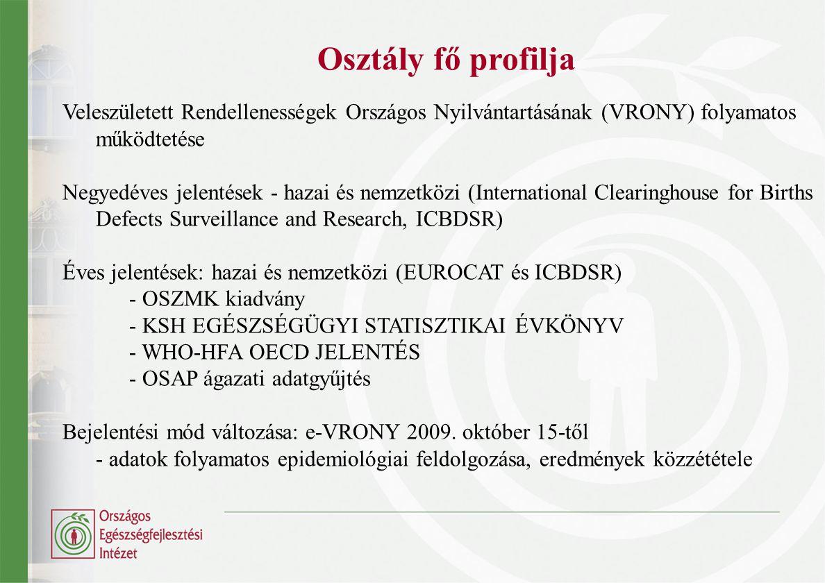 Osztály fő profilja Veleszületett Rendellenességek Országos Nyilvántartásának (VRONY) folyamatos működtetése Negyedéves jelentések - hazai és nemzetkö