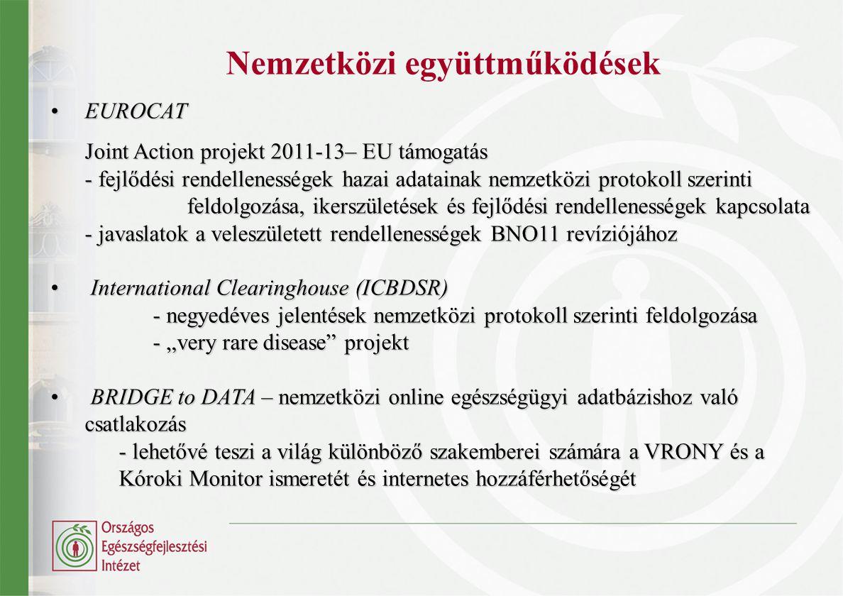 Nemzetközi együttműködések EUROCATEUROCAT Joint Action projekt 2011-13– EU támogatás - fejlődési rendellenességek hazai adatainak nemzetközi protokoll