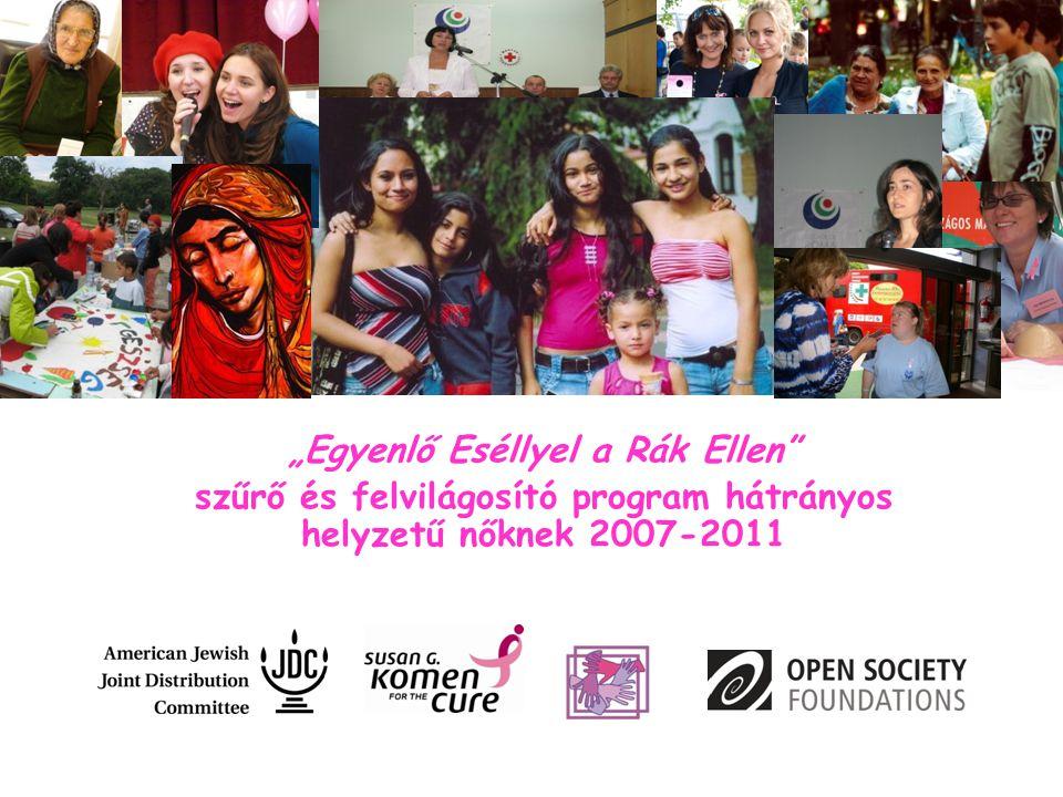 """""""Egyenlő Eséllyel a Rák Ellen"""" szűrő és felvilágosító program hátrányos helyzetű nőknek 2007-2011"""