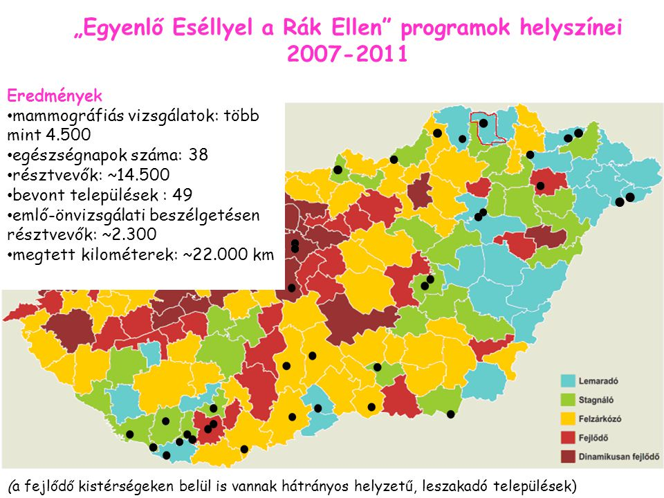 """""""Egyenlő Eséllyel a Rák Ellen programok helyszínei 2007-2011 Eredmények mammográfiás vizsgálatok: több mint 4.500 egészségnapok száma: 38 résztvevők: ~14.500 bevont települések : 49 emlő-önvizsgálati beszélgetésen résztvevők: ~2.300 megtett kilométerek: ~22.000 km (a fejlődő kistérségeken belül is vannak hátrányos helyzetű, leszakadó települések)"""