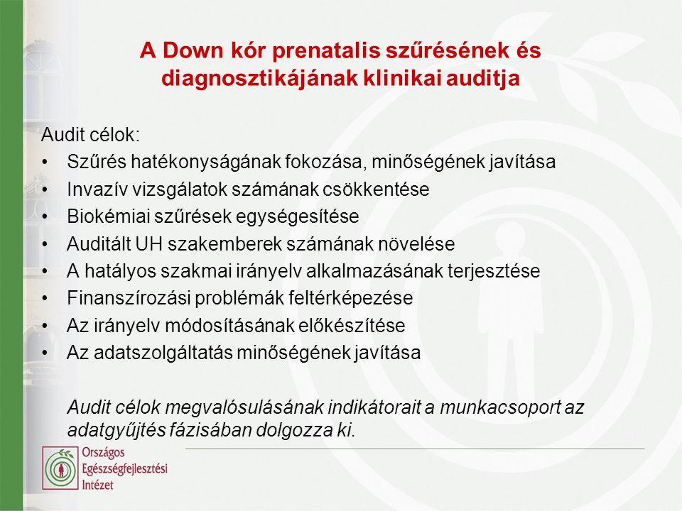 A Down kór prenatalis szűrésének és diagnosztikájának klinikai auditja A klinikai audit alapja: A Down- kór prenatalis szűrése és diagnosztikája című szakmai irányelv Közzétette: az Egészségügyi Minisztérium Készítette: Klinikai genetikai Szakmai kollégium Szülészet- Nőgyógyászati Szakmai Kollégium Érvényes: 2012.