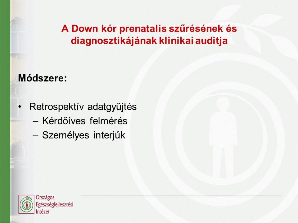 A Down kór prenatalis szűrésének és diagnosztikájának klinikai auditja Módszere: Retrospektív adatgyűjtés –Kérdőíves felmérés –Személyes interjúk