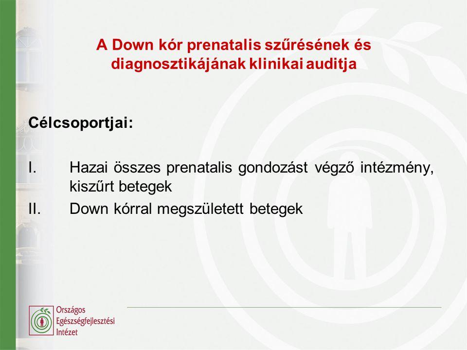 A Down kór prenatalis szűrésének és diagnosztikájának klinikai auditja Célcsoportjai: I.Hazai összes prenatalis gondozást végző intézmény, kiszűrt betegek II.Down kórral megszületett betegek