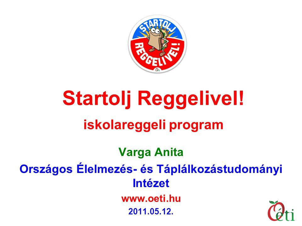 Startolj Reggelivel! iskolareggeli program Varga Anita Országos Élelmezés- és Táplálkozástudományi Intézet www.oeti.hu 2011.05.12.