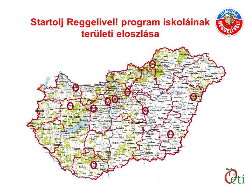 Startolj Reggelivel! program iskoláinak területi eloszlása