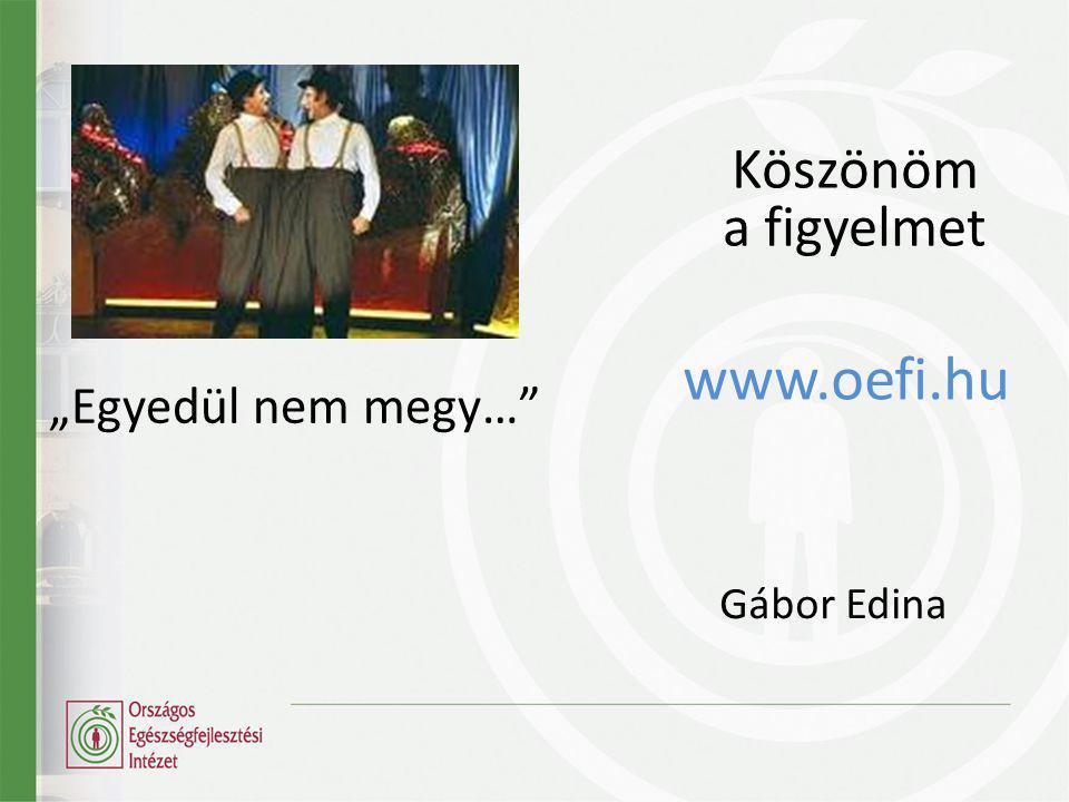 """Köszönöm a figyelmet www.oefi.hu Gábor Edina """"Egyedül nem megy…"""""""