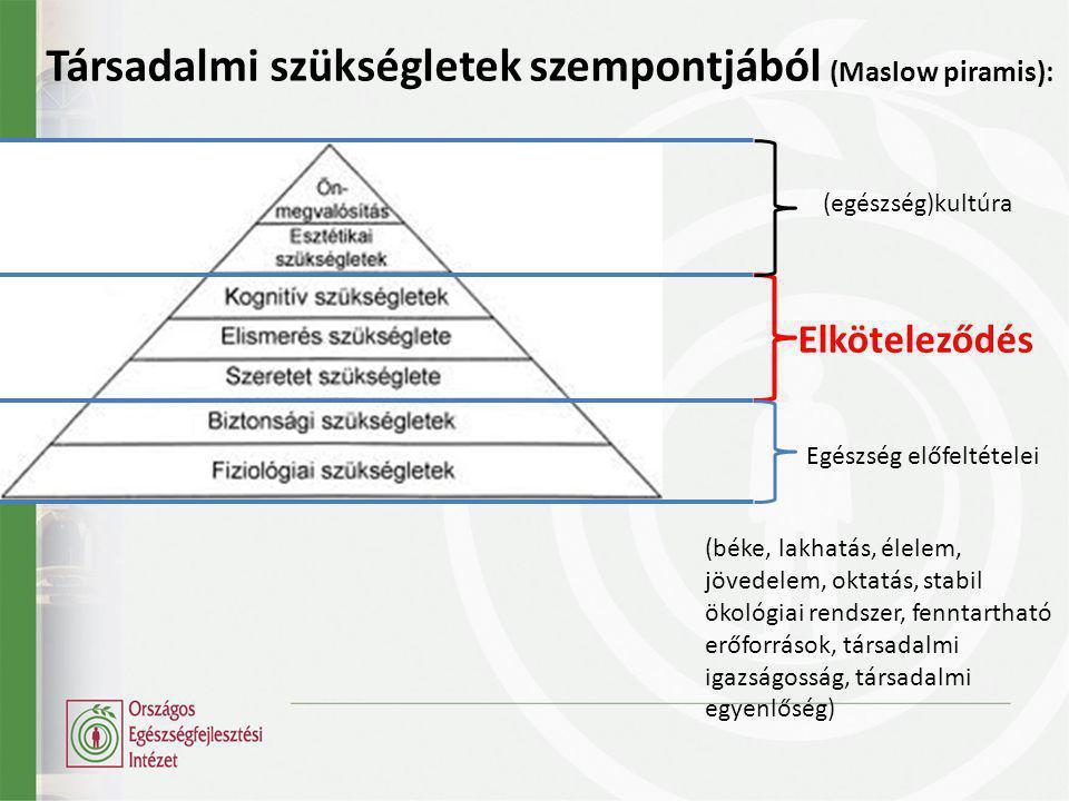 Társadalmi szükségletek szempontjából (Maslow piramis): Elköteleződés Egészség előfeltételei (béke, lakhatás, élelem, jövedelem, oktatás, stabil ökológiai rendszer, fenntartható erőforrások, társadalmi igazságosság, társadalmi egyenlőség) (egészség)kultúra