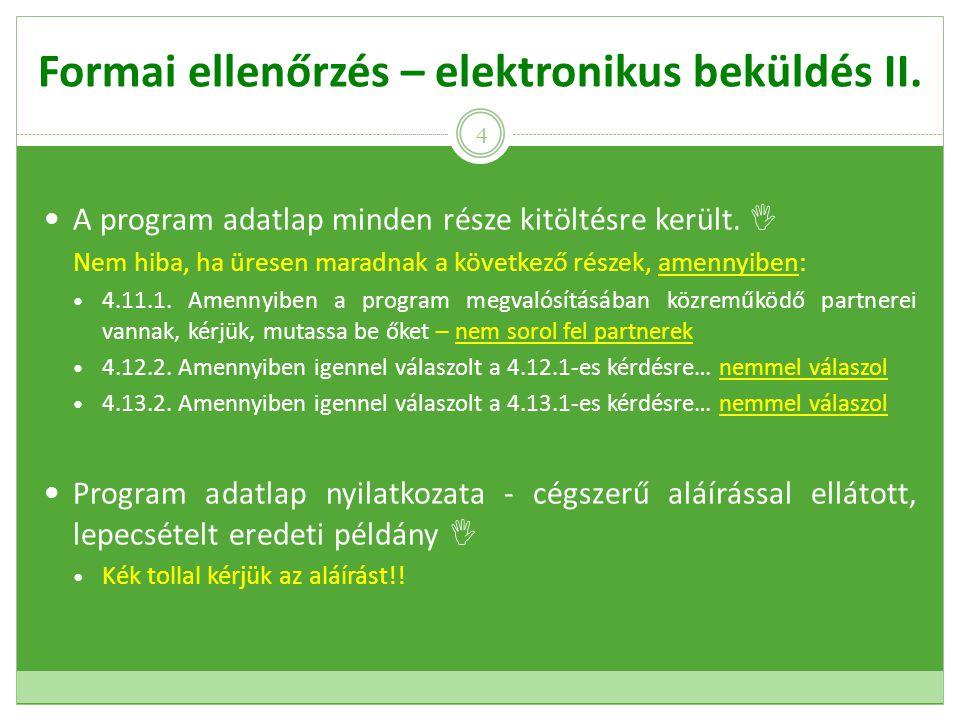 Formai ellenőrzés – elektronikus beküldés II. A program adatlap minden része kitöltésre került.
